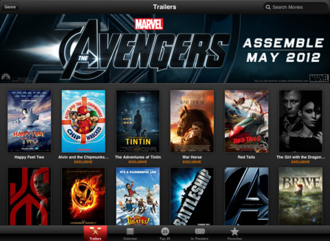 iTunes Movie Trailers, ver trailers de películas en iPad