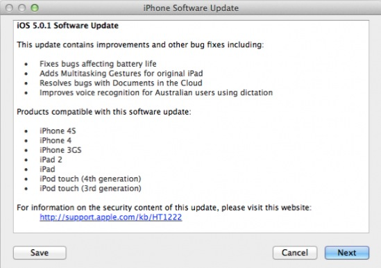 Actualización a iOS 5.0.1 disponible
