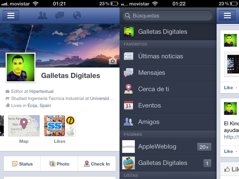 Facebook para iPhone incluye Timeline