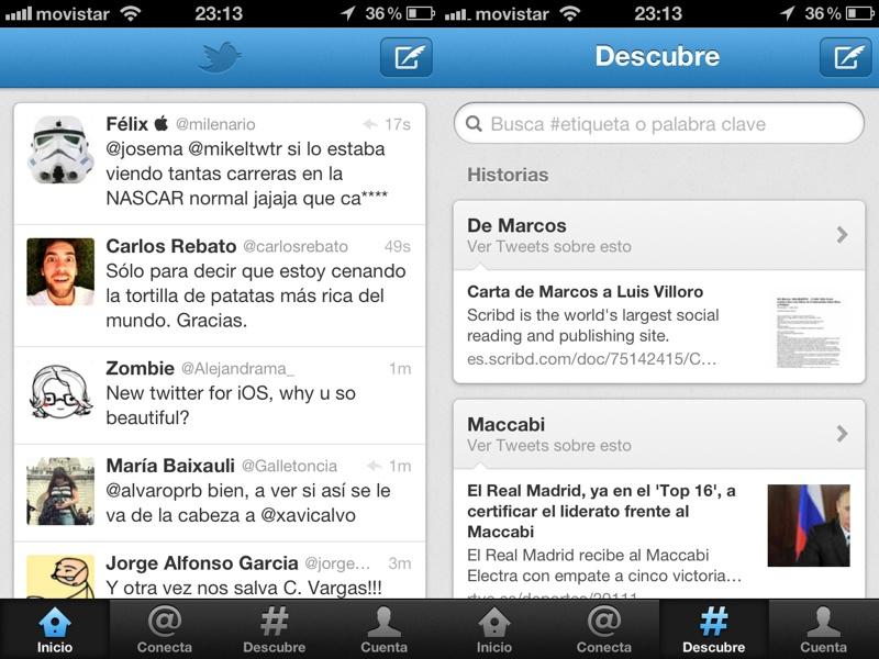 Twitter 4.0 la nueva interfaz de Twitter en iPhone